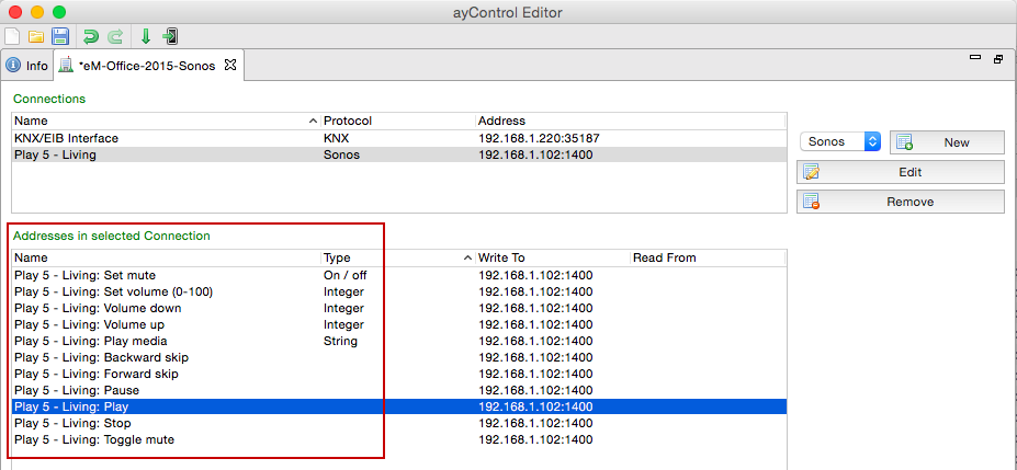 ayControl KNX Sonos integration: Addresses for Play, Stop, Mute, Volume etc.