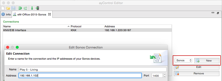 ayControl KNX Sonos integration: Create a Sonos connection.