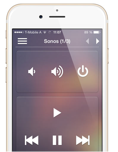 ayControl KNX Sonos integration: Play, Volume etc. controls on iPhone