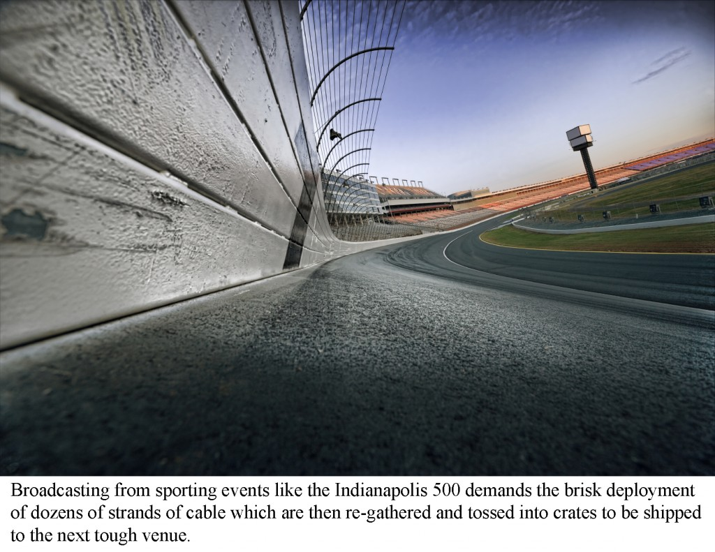 Race track photographed with wide angle lens on race track turn number 1 at surface level.  The image was manipulated in photoshop to create a surreal image. the grain and glow where added in post production.