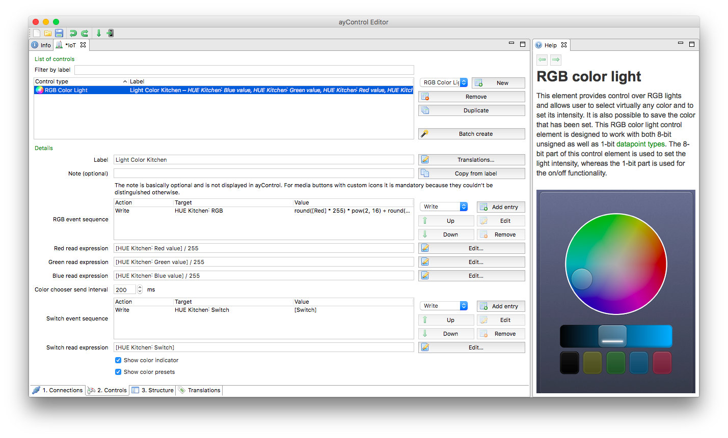 Overview of the Philips HUE configuration for the ayControl KNX Editor