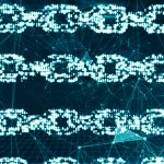 Futuristic chains in a row, representing blockchain.