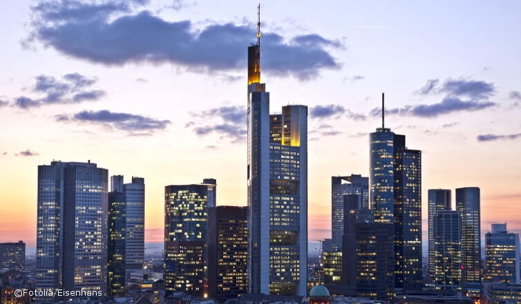 Photo of the skyline of Frankfurt.