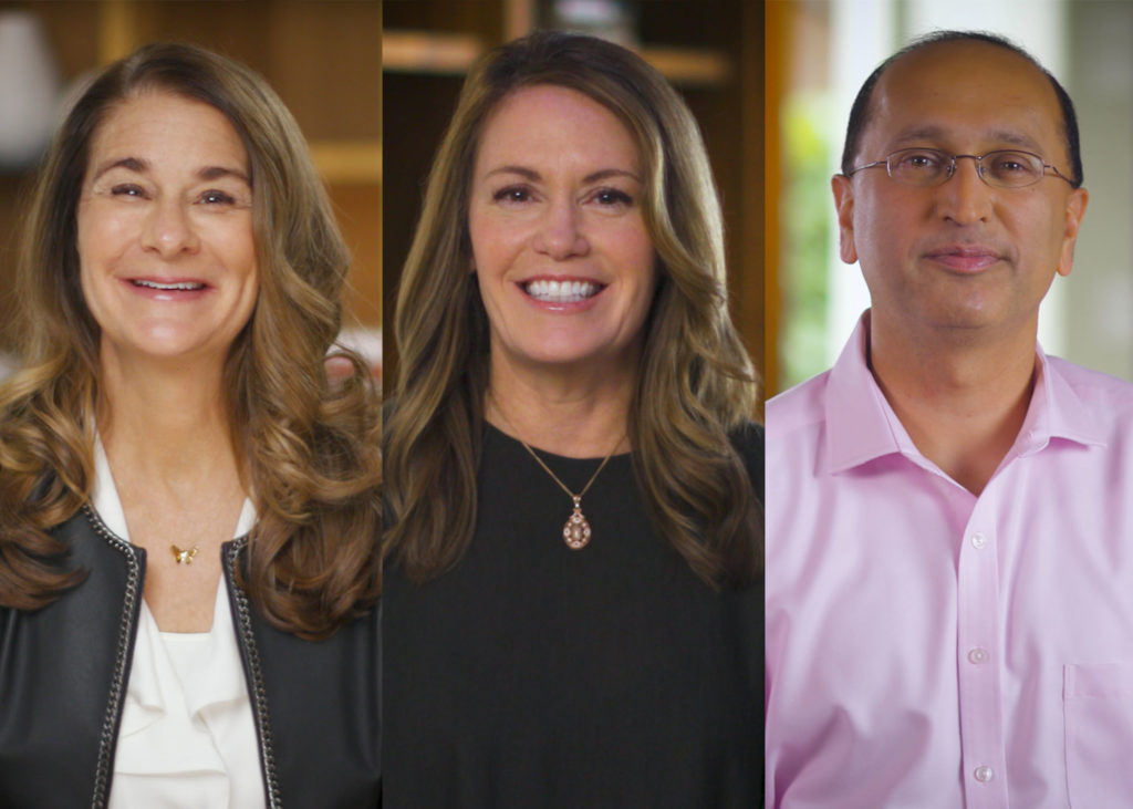 Melinda Gates, Peggy Johnson and Navin Chaddha