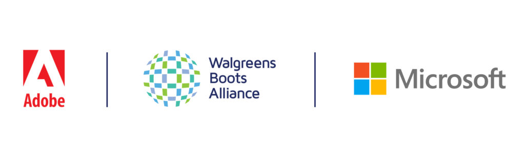 Logos for Adobe, Walgreens Boots Alliance and Microsoft