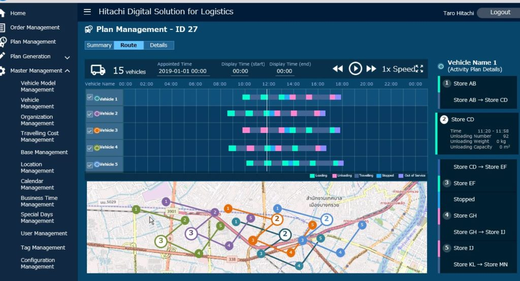 Image of a logistics optimization and operational efficiency tool built with Hitachi Digital Solution for Logistics/Delivery Optimization Service